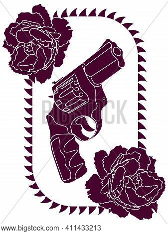 Outline Purple Revolver Gun And Two Peony Buds In Thorned Frame
