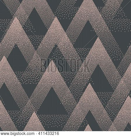 Trendy Seamless Pattern Stippled Triangles Texture Vector Retro Colors Abstract Background. Hand Dra
