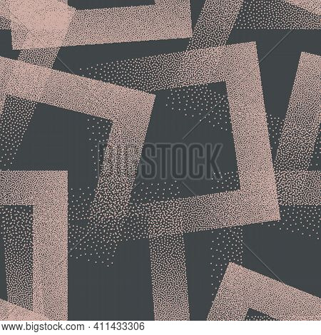 Trendy Seamless Pattern Stippled Squares Texture Vector Retro Colors Abstract Background. Hand Drawn