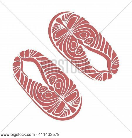Abstract Cartoon Seafood Illustration Of Two Isolated Salmon Fish Fillets
