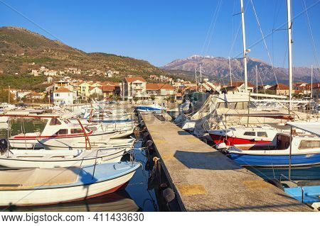 Beautiful Mediterranean Landscape. Marina For Fishing Boats. Montenegro, Tivat City, View Of Marina
