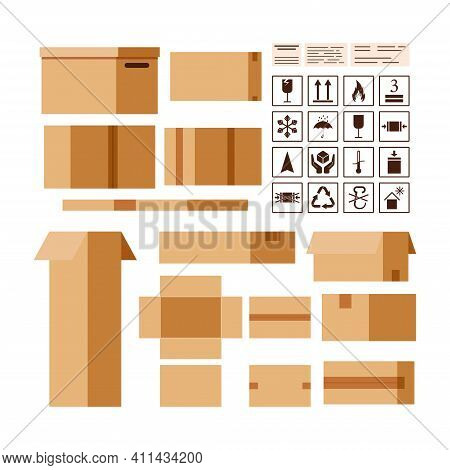 Cardboard Parcels Box Creator With Packaging And Information Sings Isolated On White Background. Clo