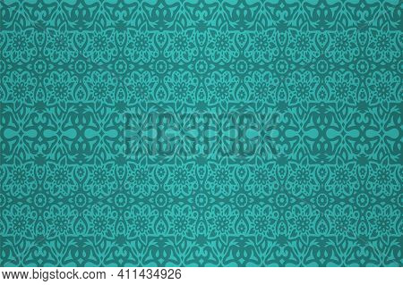 Colorful Cyan Background With Abstract Floral Seamless Pattern