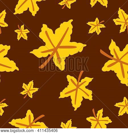 Seamless Pattern With Yellow Maple Leaves. Brown Stem. Brown Background. Autumn Or Summer. Nature Or
