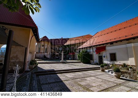 Abandoned Bled Castle Courtyard During Covid Tourism Crysis, Slovenia