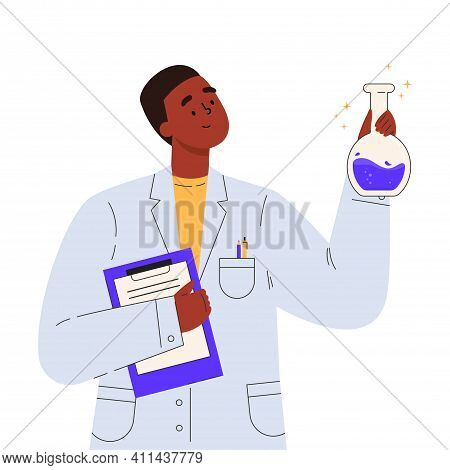 Vaccine Discovery Concept. Scientists Doctor With Flasks And Folder Working On Antiviral Treatment D
