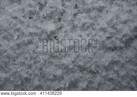 Frosty Snowy Surface In Winter Interior Wall