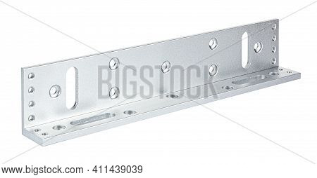 Aluminium Mounting Plate Of Electromagnetic Door Lock Isolated On White Background