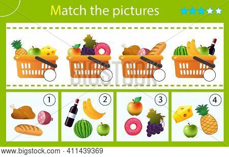 Matching Game, Education Game For Children. Puzzle For Kids. Match By Elements. Grocery Baskets Or F