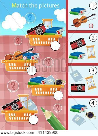 Matching Game, Education Game For Children. Puzzle For Kids. Match By Elements. Baskets With Hobby I