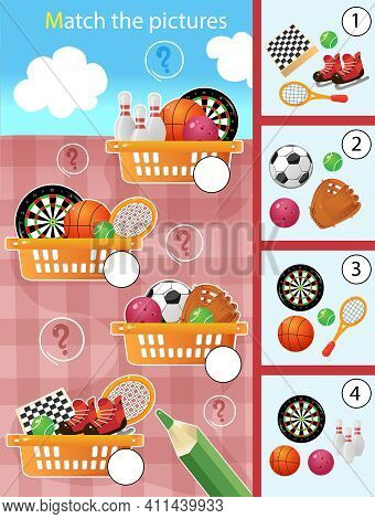 Matching Game, Education Game For Children. Puzzle For Kids. Match By Elements. Baskets With Sports