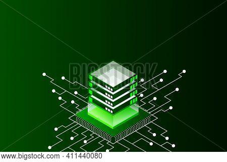 Concept Of Big Data Processing Energy Station Of Future Server Room Rack Data Center