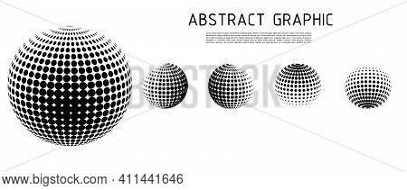 3D Vector Halftone Spheres Set. Halftone Design Elements. Decoration Element. Vector Illustration.