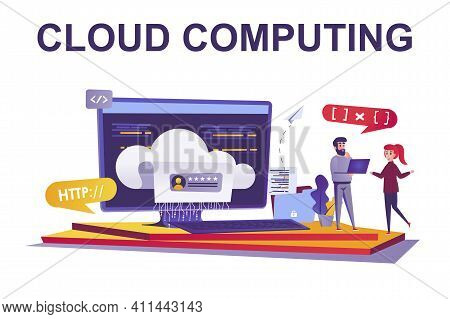 Cloud Computing Web Concept In Flat Style. People Working At Datum Center, Data Storage And Processi