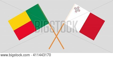 Crossed Flags Of Benin And Malta. Official Colors. Correct Proportion. Vector Illustration