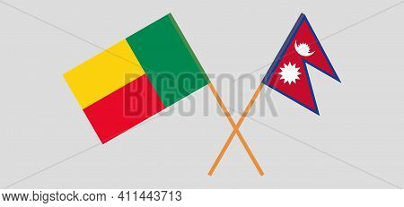 Crossed Flags Of Benin And Nepal. Official Colors. Correct Proportion. Vector Illustration