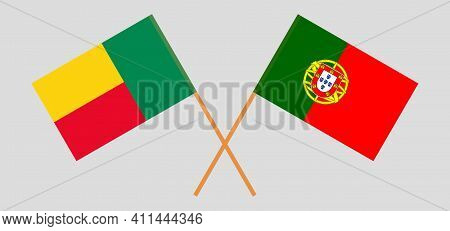 Crossed Flags Of Benin And Portugal. Official Colors. Correct Proportion. Vector Illustration