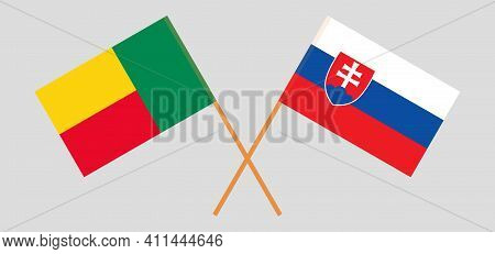 Crossed Flags Of Benin And Slovakia. Official Colors. Correct Proportion. Vector Illustration