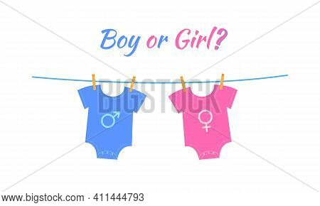 Baby Boy And Girl Bodysuits With Gender Signs Hanging On The Rope. Gender Reveal Party Invitation Ca