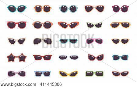 Sunglasses Cartoon Flat. Retro Fashion Flat Glasses, Glamour Goggles. Vector Icons Set. Trendy Spect