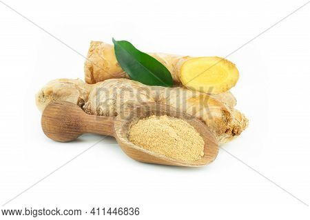 Fresh Ginger Root And Ginger Powder In Wooden Spoon Isolated On White Background, Healthy Spice, Alt