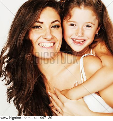 Young Mother With Little Cute Daughter Emotional Posing On White, Happy Smiling Family Inside Isolat