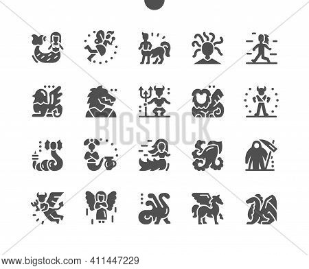 Mythical Creatures. Mermaid, Fairy, Centaur, Gorgon Medusa, Yeti, Minotaur, Daemon, Angel, Pegasus A