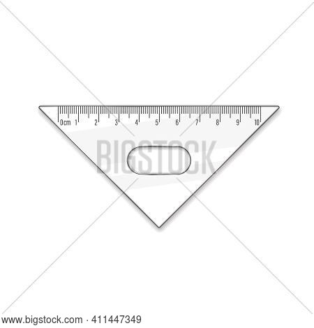 Triangle Ruler Ten Cm. Vector Math Geometry Transparent Plastic School And Office Accessories. Centi