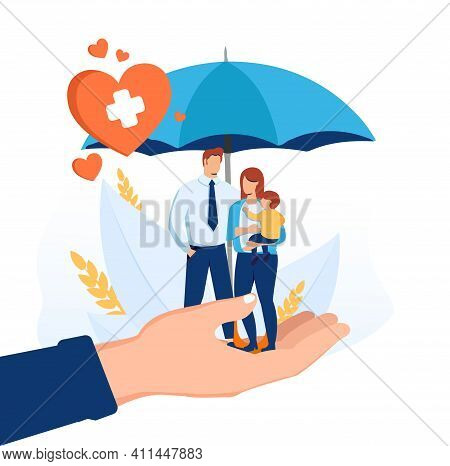 Life Insurance As Healthcare Protection And Family Safety Tiny Person Concept. Future Financial Supp
