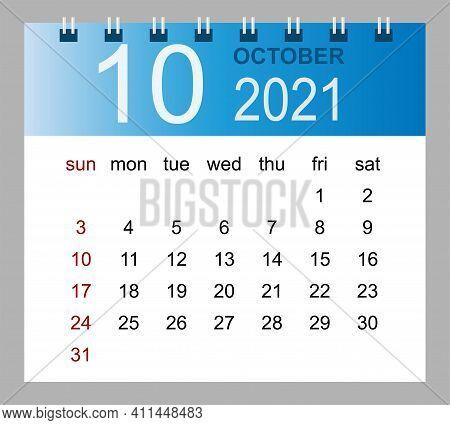 Simple Desk Calendar For October 2021. Week Starts Sunday. Isolated Vector Illustration.