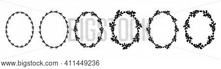Set Of Easter Willow Wreaths.oval Floral Wreath. Oval Frame Black Silhouette. Vector Flat Illustrati