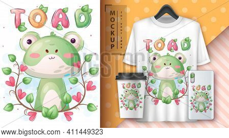 Cute Toad In Flower Poster And Merchandising. Vector Eps 10