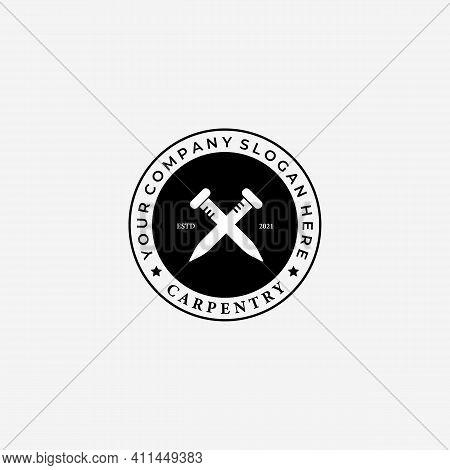 Emblem Of Steel Logo Design, Illustration Of Spike Vector, Simply Woodwork Concept
