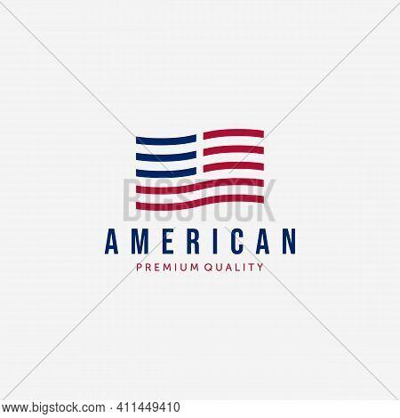 Strip American Flag Logo Design Vintage, Illustration Of Usa Flag, Independence Day Vector Of Us