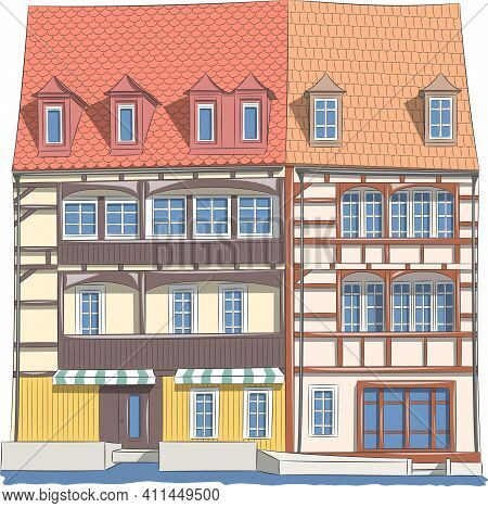 Old Traditional German Half-timbered Houses Above The Canal In Bamberg. Vector Illustration