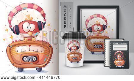 Red Bird Listen Music Poster And Merchandising. Vector Eps 10