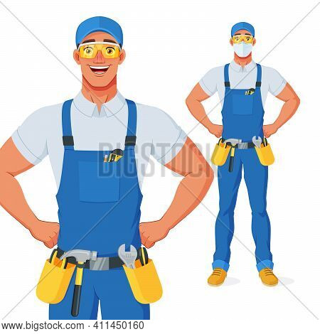 Handyman In Bib Overalls And Protective Glasses With Arms Akimbo. Vector Cartoon Character.