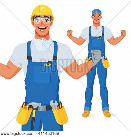 Excited Handyman In Hard Hat And Protective Eyewear Celebrating Success With Raised Arms. Cartoon Ve