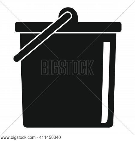 Plastic Bucket Black Simple Icon. Vector Plastic Bucket Black Simple Icon   Isolated On White Backgr