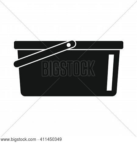 Plastic Water Bucket Black Simple Icon. Vector Plastic Water Bucket Black Simple Icon   Isolated On