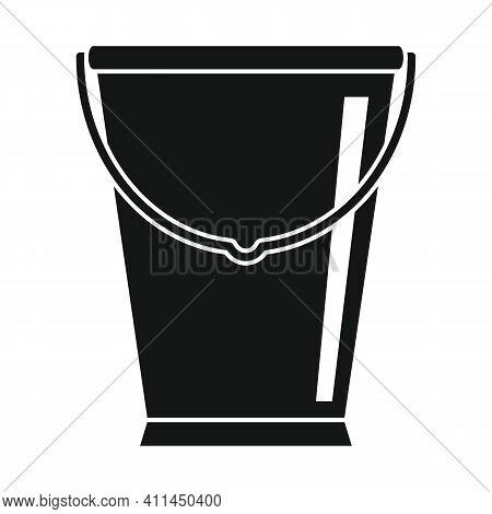 Galvanized Bucket Black Simple Icon. Vector Galvanized Bucket Black Simple Icon   Isolated On White