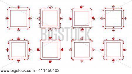 Ornamental Filigree Red Frames Set. Romantic Decorative Frame For Menu, Book Page, Card On Valentine