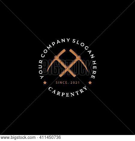 Emblem Of Pickax Logo Vector, Silhouette Badge Of Minimalist Digger, Gemstone Mining Design Concept