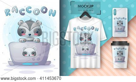Raccoon Works At The Notebook Poster And Merchandising. Vector Eps 10