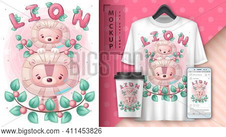 Cute Lion Family Poster And Merchandising. Vector Eps 10