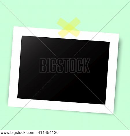 Vintage Abstract Image With Black Photo Card On Tape. Vector Art Illustration. Photo Frame. Stock Im