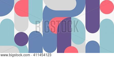 Abstract Retro Style Of Midcentury Geometric Design Header Template. Graphics Style Of Simple Sign S