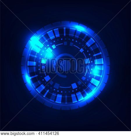 Abstract Tech Design Of Blue Interface Futuristic Design Template. Overlapping With Geometric Elemen