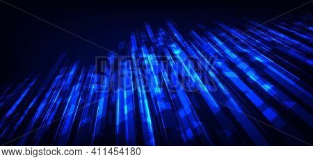 Abstract Blue Tech Design Of Lines Pattern Template. Overlapping With Sharp Style Background. Illust
