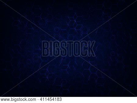 Abstract Blue Hexagonal Design Of Blockchain Style Template. Overlapping With Crypto Style Backgroun
